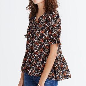 Madewell-Silk Studio Ruffle-Hem Floral Top